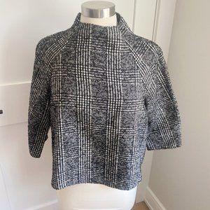 Zara Herringbone 3/4 Sleeve Cropped Top Large